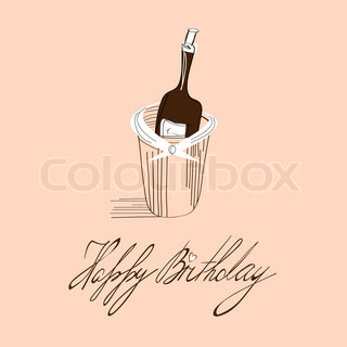 Template for birthday card with inscription Happy Birthday
