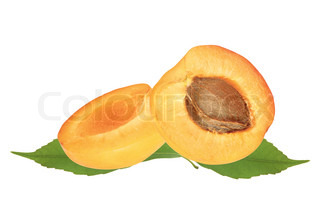 fresh juicy apricot with green leaves isolated on white background