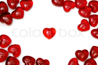 Bright red heart on a white background among others hearts