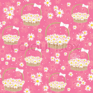 seamless background with Flowers basket Vector illustration
