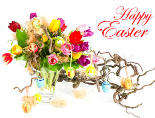 happy easter. card concept. colorful easter tulips bouquet