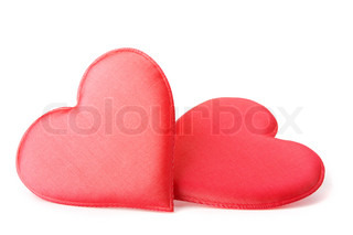 A Pair Of Fabric Red Hearts Isolated On White Background With Shadow