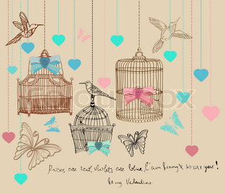 Valentine hand drawing background with cages and birds