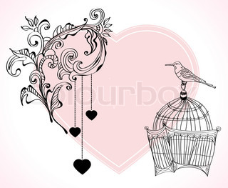 Valentine hand drawing light and tender background with flowers