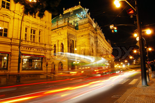 Prague old town center in night view