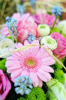 festive bouquet of fresh flowers, gerbera, rose,