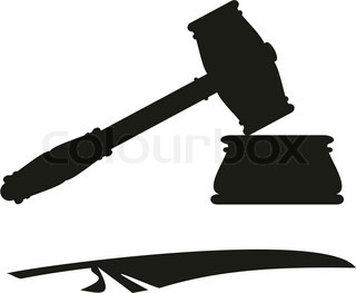Symbols (emblem) of justice and low - gavel (hammer, anvil) and feather
