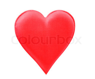 A Fabric Red Heart Isolated On White Background