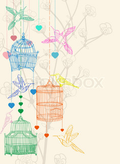 Valentine hand drawing background with birds, flowers and cage, beautiful illustration