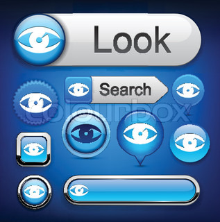 Eye web blue buttons for website or app