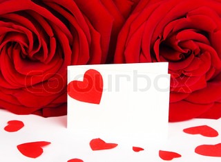 Blank greeting card with red heart & roses isolated on white background, conceptual image of love & Valentine's day holiday