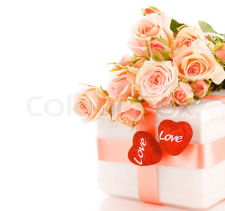Romantic gift & roses border, isolated on white background, love concept