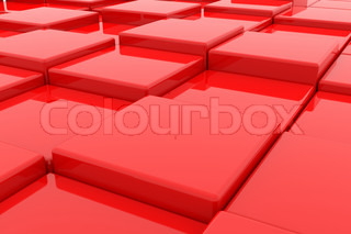 Red glossy cubes on different height. Background. Computer generated image.