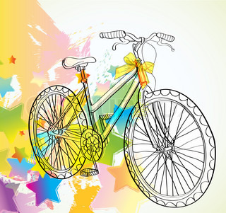 Background with bicycle and stars, illustration