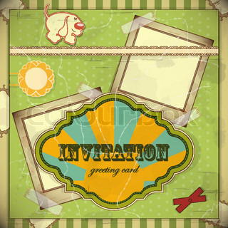 Vintage card with place for text - scrapbook style - vector illustration