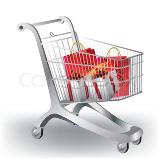 A shopping cart filled with colorful gifts on white