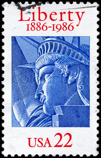 USA - CIRCA 1986: A Stamp printed in USA shows the Statue of Liberty, century, circa 1986