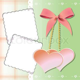 zwei herzen mit einem bogen und zwei postkarten auf einem rosa hintergrund stock vektor. Black Bedroom Furniture Sets. Home Design Ideas