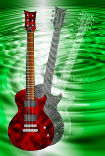 red and black transparent electric guitars on abstract green background