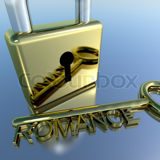 Padlock With Romance Key Showing Love Valentines And Lovers