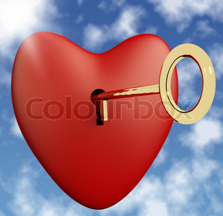 Heart With Key And Sky Background Showing Love Romance And Valentines