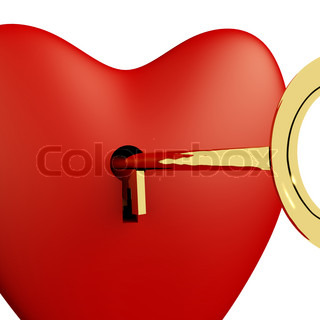 Heart With Key Close Up Showing Love Romance And Valentines