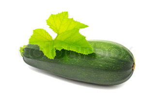 Zucchini with Green Leaf Isolated on White Background