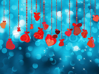 Bright red heart and circle bokeh background