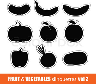 Vector fruit and vegetables silhouettes clip-art
