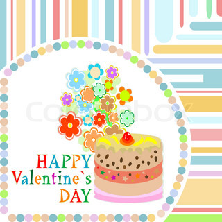 Vector valentine`s day frame with sweet cupcake