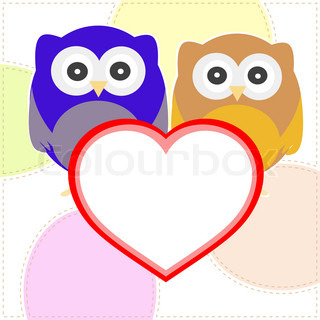 vector background with couple of owls with valentines love heart