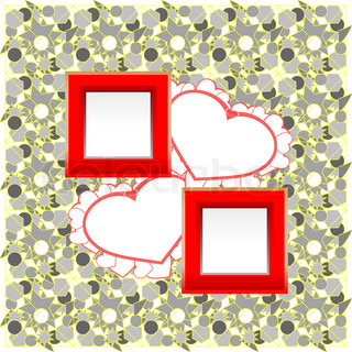 photo frames and heart on vintage background