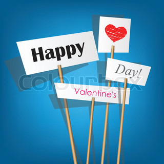 Vector white posters with inscription - Happy Valentine's Day