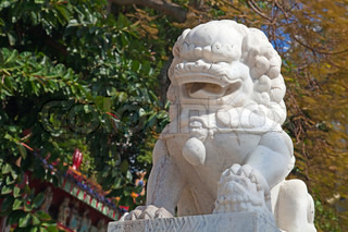 Marble chinese lion in the temple