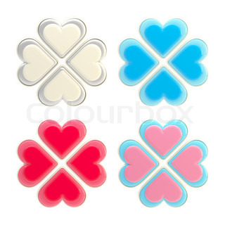 Set of four glossy luck and love symbols made of hearts isolated on white