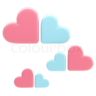 Set of three symbolic clouds made of pink and blue hearts isolated