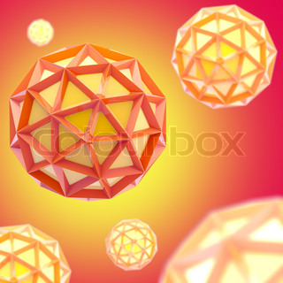 Abstract red and yellow background made of plastic bright spheres