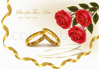 Background with wedding rings and roses bouquet. Vector illustration.