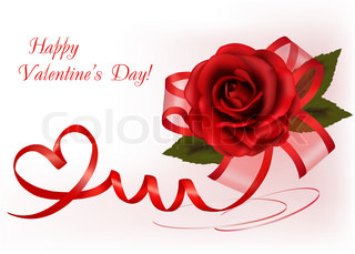 Valentine`s day background. Red rose with gift red bow. Vector illustration.