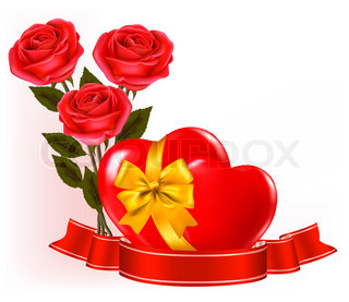 Valentine`s day background. Red roses with red hearts.