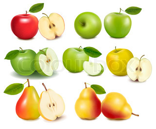 Set of red and green apple fruits with cut and pears.