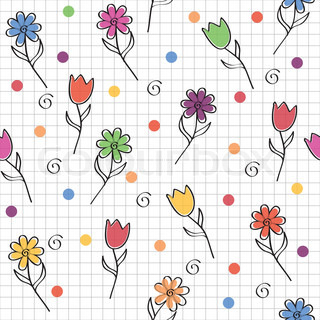 hand drawn seamless pattern with funny colored flowers