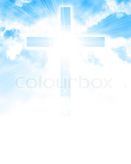 glowing cross in sky