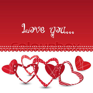 Red vector valentine's day card with different hearts