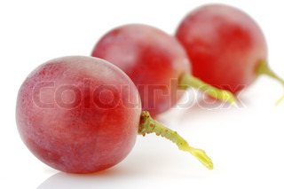 Three berries of red grapes abreast It is isolated on a white background
