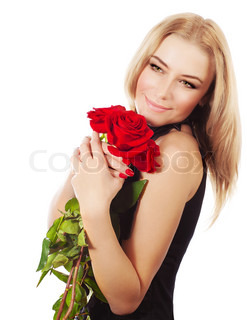 Beautiful female holding red roses bouquet, valentine romantic gift, woman isolated on white background, happy young girl with flowers