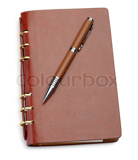 Notebook in a brown leather cover and stylish pen It is isolated on a white background