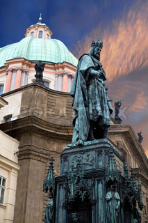 An image of an old famous statue in Prague