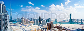 Panoramic image of Dubai city,modern cityscape, downtown with blue sky, luxury new high-tech city at Middle East, United Arab Emirates