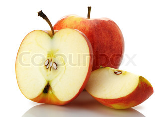 The cut and whole apple A detailed photo of fruit on a white background